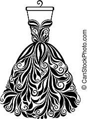 Vector silueta de un vestido floral aislado