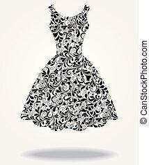 Vector silueta de un vestido trasero aislado