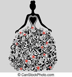 Vector silueta de vestido elegante