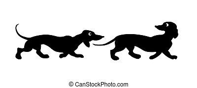 Vector silueta dos perros de fondo blanco