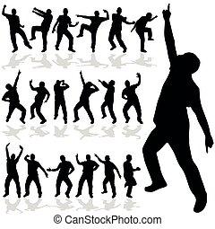 vector, silueta, hombre, bailando