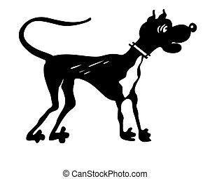 Vector silueta perro en blanco