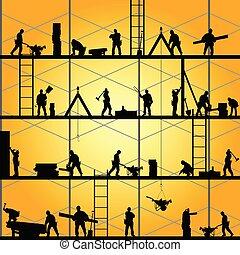 vector, silueta, trabajo, trabajador, ilustración, construcción