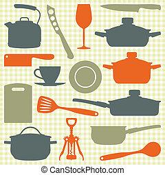 vector, silueta, utensilios, cocina