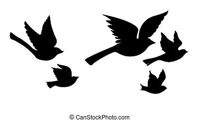 Vector silueta volando aves en el fondo blanco
