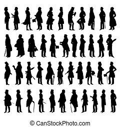 vector, siluetas, hombres, suits., ilustración