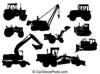 Vector, siluetas tractores