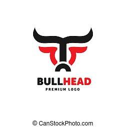 vector, simple, cabeza, toro, logotipo, resumen