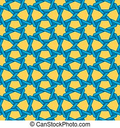 Vector sin costura azul islámica azul islámica línea de línea geométrica estrella