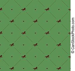 Vector sin costura de caballo marrón en verde