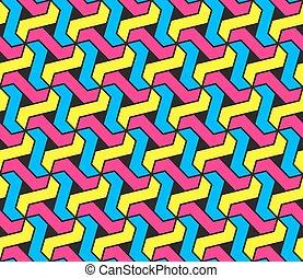 Vector sin costura de cianuro geométrico magenta y colores amarillos patrón de tesellación hexagonal en el fondo negro