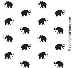 Vector sin costura de silueta de mamut