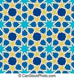 Vector sin costura patrón geométrico azul islámico amarillo