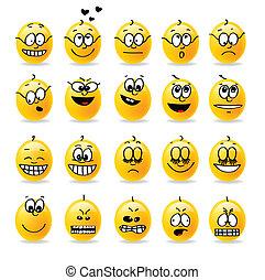 vector, smiley, humores, emociones