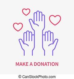 vector, solidaridad, voluntario, icon., donation., línea, ayuda, illustration., símbolo