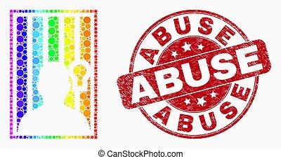 Vector Spectrum pixel encarcelado ícono de persona y sello de abuso de menores