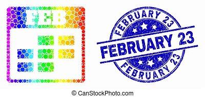 Vector Spectrum Pixel Febrero de icono del calendario y angustia del 23 de febrero