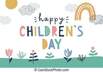 vector, tarjeta, día, saludo, feliz, lindo, childrens