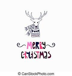vector, tarjeta, venado, saludo, navidad