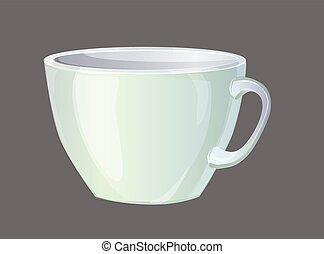 vector, taza para café, blanco