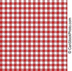 vector, tela, a cuadros, picnic, rojo