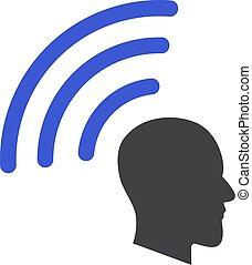 Vector telepatía ondas de icono plano