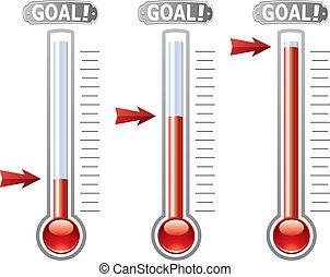 vector, termómetros