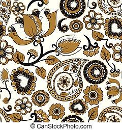 Vector textura sin costura. Ornamento de kalamkari étnico. Patrón decorativo de estampado floral