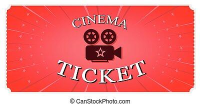 vector, ticket., movie., rojo, ilustración
