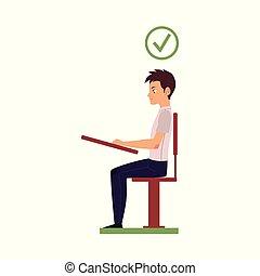 Vector tiene la postura correcta de la cabeza sentada en el escritorio