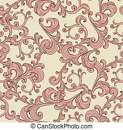Vector tiene un fondo romántico sin costuras con adorno floral vintage, un patrón sin costura en el menú de swatch
