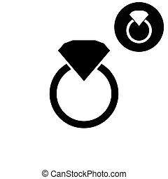 vector, timbre de diamante, blanco, icono, -