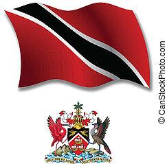vector, tobago, bandera, ondulado, textured, trinidad