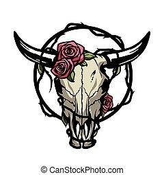 vector, toro, illustration., cráneo, roses.