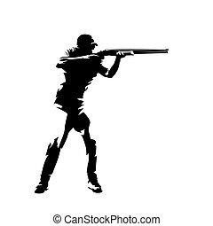 vector, trampa, aislado, atleta, arma de fuego, dibujo, disparando, tinta, apuntar, silhouette.