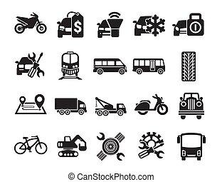 vector, transporte, coche, simple, conjunto, relacionado, icons.