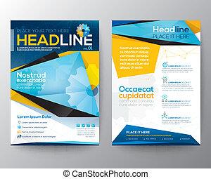 vector, triángulo, folleto, resumen, anual, cubierta, folleto, revista, aviador, diseño, plantilla, informe, disposición