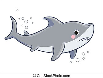 vector, triste, blanco, ilustración, fondo., pez, lindo, mar, tiburón