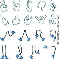 Vector un gran par de manos y piernas. Colección para animación de dibujos animados