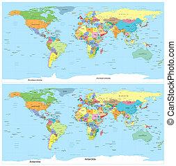 Vector. Un mapa político del mundo.