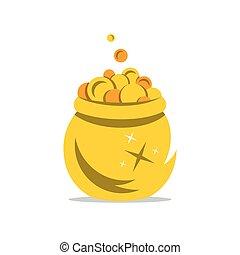 Vector una olla dorada de dibujos animados.