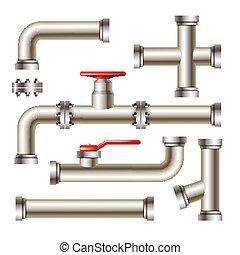 vector, válvula, grifo, puerta, conjunto, tubería