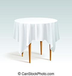 Vector vacía mesa redonda con mantel