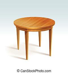 Vector vacío mesa redonda de madera