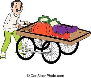 vector, vegetal, empujar, vendedor, cart.