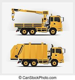 vector, vehículos, construcción, ilustración
