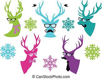 vector, venado, conjunto, navidad, cabezas