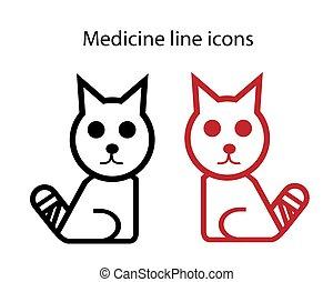 vector, vendado, tema, icono, médico, cola, veterinario, gato