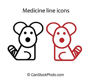 vector, vendado, tema, médico, icono, cola, veterinario, perro