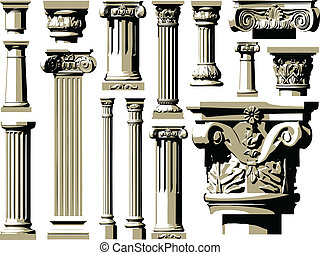 vector, vendimia, conjunto, antiguo, colum